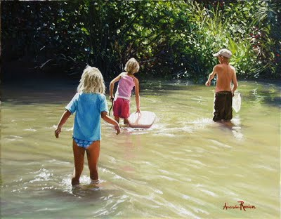 Kids Playing in Creek,oil on canvas,2009,45 X 36cm